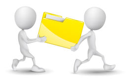 Two people carried a folder. On wihte background Stock Photo