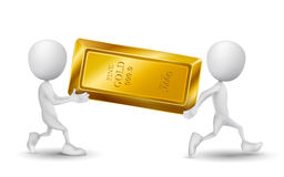 Two people carried a golden bar. Over white background Stock Photo