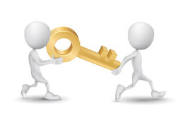 Two people carried a golden key Royalty Free Stock Photo