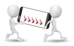 Two people carried a mobile phone and check list. Over white background Royalty Free Stock Photos