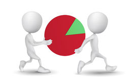 Two people carried the pie chart. Over white background Royalty Free Stock Image