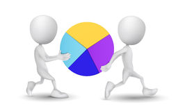 Two people carried the pie chart. Over white background Royalty Free Stock Images