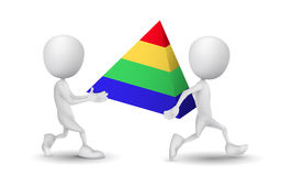 Two people carried a pyramid model Royalty Free Stock Images
