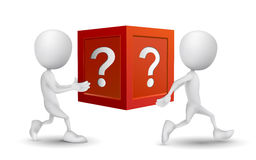 Two people carried the question box Stock Image