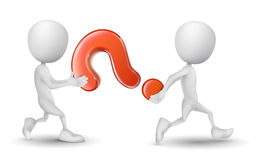 Two people carried a question mark Royalty Free Stock Photo