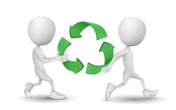 Two people carried the recycling symbol Royalty Free Stock Photo