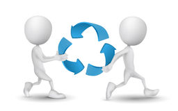 Two people carried the recycling symbol. On white Royalty Free Stock Images