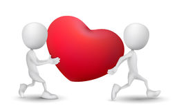 Two people carried a red heart symbol. Over white background Royalty Free Stock Image