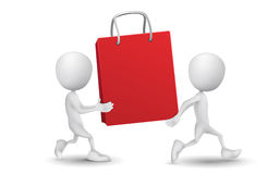 Two people carried the shopping bag Royalty Free Stock Image