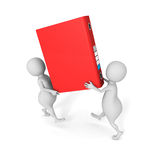 Two people carry red office document file ring binder. 3d render illustration Stock Photography
