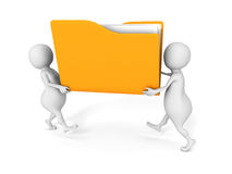 Two people carry yellow office document paper file folder. 3d render illustration Stock Photo