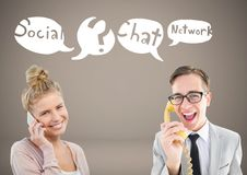 Two people chatting on phones with social network icon chat bubbles Royalty Free Stock Images