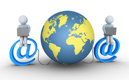 Two people connected to the world Stock Images