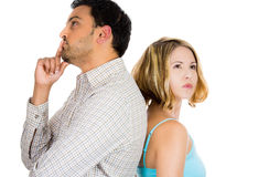 Two people or couple back to back thinking deeply about something Royalty Free Stock Photo