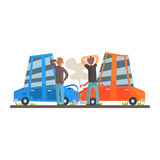 Two people crashing their cars. Car accident colorful character vector Illustration. On a white background Stock Photos