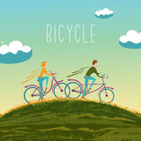 Two people are cycling up the hill. Summer bike. Two people are cycling up the hill. Vector illustration vector illustration