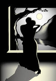 Two people dancing at night under the moon. Black, white and light yellow illustration. Two people dancing at night under the moon Royalty Free Stock Image