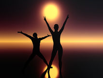 Two people in darkness praying. Digital composition of two people expressing their believe, hope and faith Royalty Free Stock Images