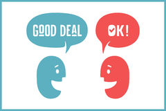 Two people with different shapes cloud talk for discount themes. Word Ok and Good Deal Royalty Free Stock Images