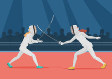 Two people doing fencing. Fencing championship vector illustration. Two people doing fencing. Fencing championship vector illustration Royalty Free Stock Image