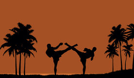 Two people engaged in martial arts on the beach. Royalty Free Stock Image
