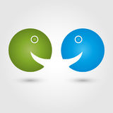 Two people, faces, colored, people and couple logo Stock Image