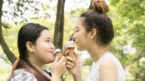 Two people fat and cute girl eat ice cream with feeling delicious. The two people fat and cute girl eat ice cream with feeling delicious stock images