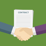 Two People Handshake For The Business Contract. Handshake Of two people with contract paper illustration Stock Image