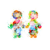 Two People Holding Hands Made From Colorful Splashes Royalty Free Stock Photo