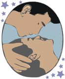 Two people kissing. Illustration of two people kissing Royalty Free Illustration