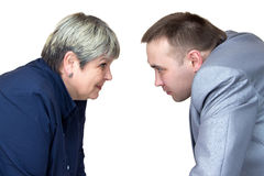 Two people looking at each other. Isolated photo with white background Stock Photo