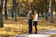Two people in love in autumn park Stock Photos