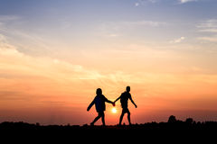 Two people in love at sunset Royalty Free Stock Photography