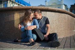 Two people in love walking around Royalty Free Stock Photos