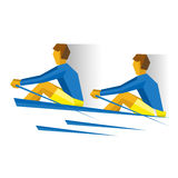 Two people with oars in the boat. Rowing competition royalty free illustration