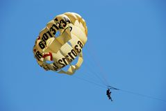 Two People Parasailing, Fuengirola. Stock Image