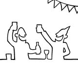 Two people partying with drinks. Black and white drawing of two people partying and holding drinks Stock Image