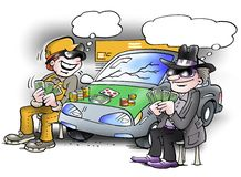 Two people play poker game on a car Stock Photography