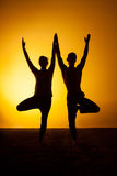 Two people practicing yoga in the sunset light Royalty Free Stock Images