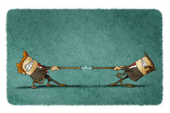 Two people pulling rope vector illustration