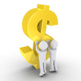 Two people raising a dollar symbol Royalty Free Stock Image
