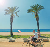 Two people riding bikes along the beach with palm trees Stock Photos