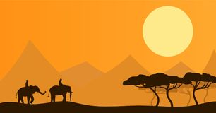 Two People Riding Elephants in African Savannah Landscape. Flat landscape with African elephants Royalty Free Stock Photos