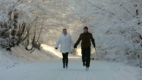 Two People Are Running In The Snow. Man and woman running through the snowy woods hand in hand stock video footage