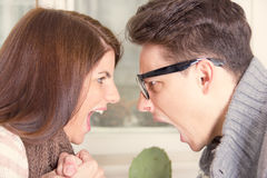 Two people screaming at each other. Two people shouting and screaming at each other Royalty Free Stock Image