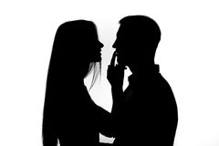 Two people silhouette Royalty Free Stock Photography