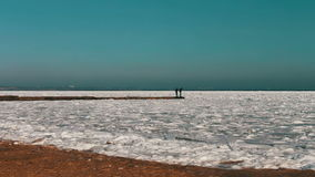 Two people standing on the sea dock in the winter stock video footage