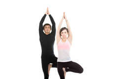 Two people standing in vrikshasana yoga pose Stock Photos