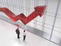 People study the growing statistics arrow stock photos