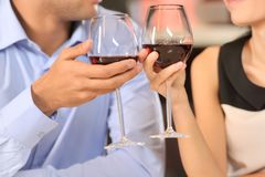 Two people toasting with wine glasses. Royalty Free Stock Images